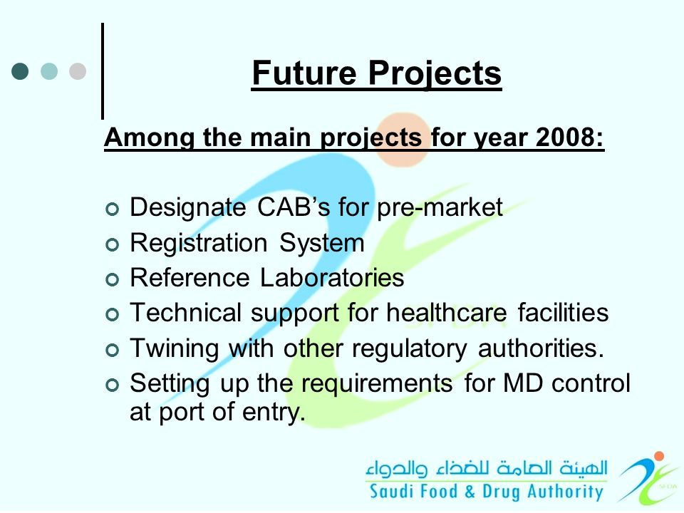 Future Projects Among the main projects for year 2008: Designate CAB's for pre-market Registration System Reference Laboratories Technical support for healthcare facilities Twining with other regulatory authorities.