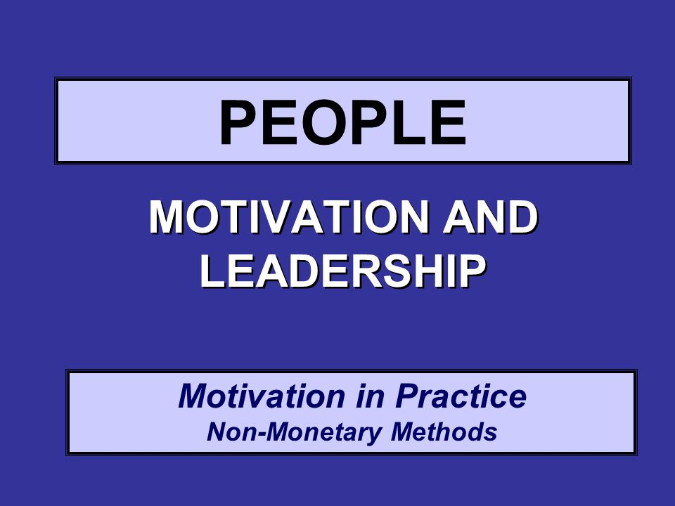 Motivation in Practice Non-Monetary Methods PEOPLE MOTIVATION AND LEADERSHIP
