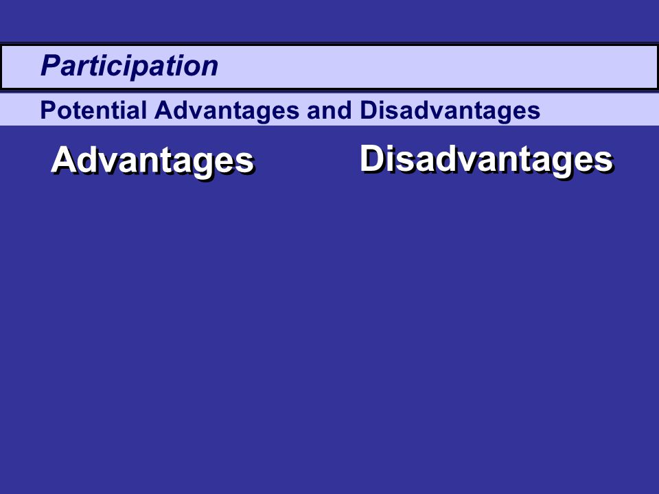 Potential Advantages and Disadvantages Advantages Disadvantages Participation