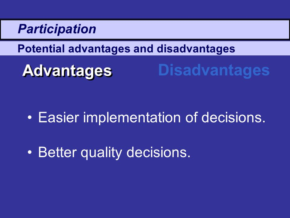 Advantages Disadvantages Easier implementation of decisions.