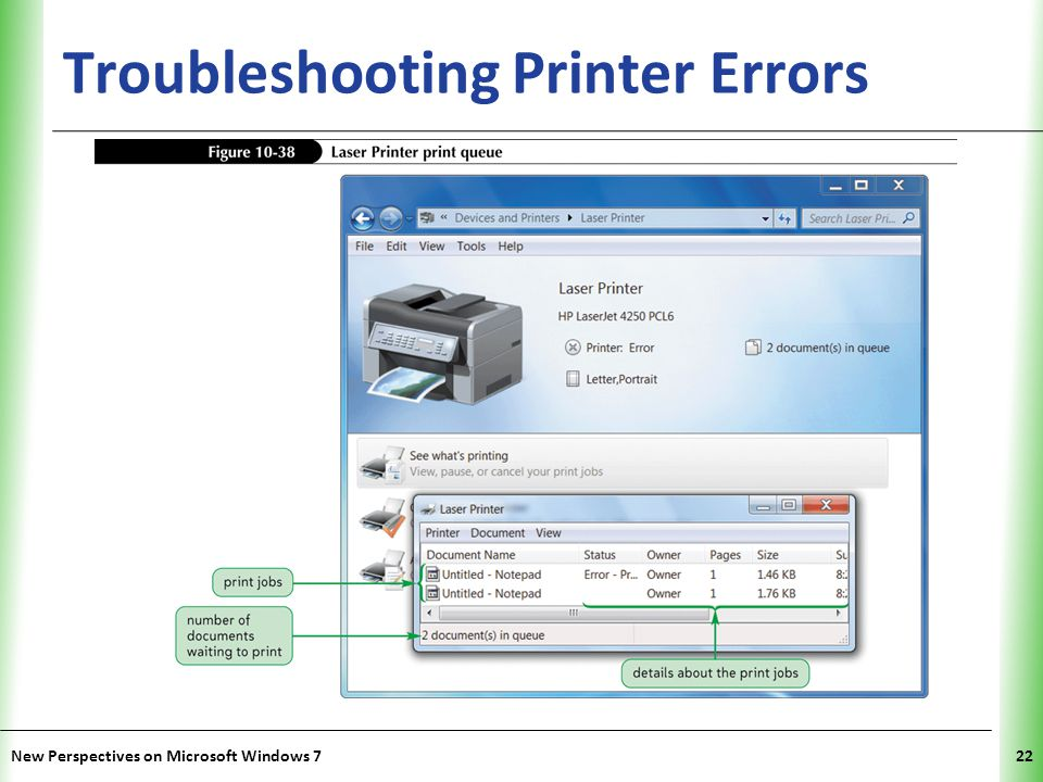 XP Troubleshooting Printer Errors New Perspectives on Microsoft Windows 722