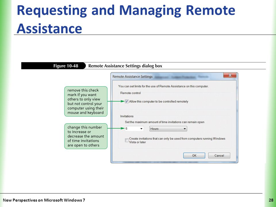 XP Requesting and Managing Remote Assistance New Perspectives on Microsoft Windows 728