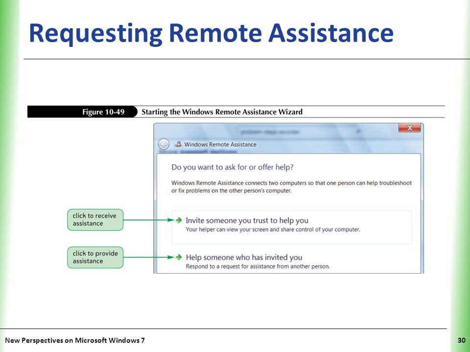 XP Requesting Remote Assistance New Perspectives on Microsoft Windows 730