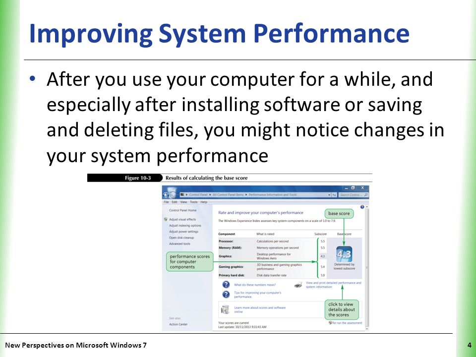 XP Improving System Performance After you use your computer for a while, and especially after installing software or saving and deleting files, you might notice changes in your system performance New Perspectives on Microsoft Windows 74