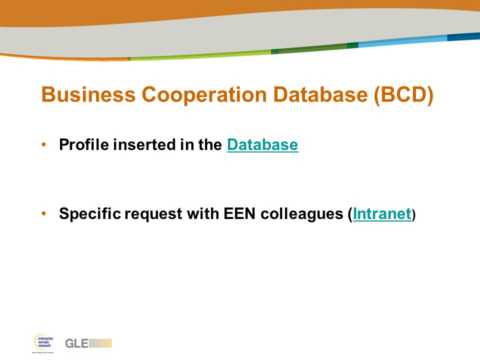 Business Cooperation Database (BCD) Profile inserted in the DatabaseDatabase Specific request with EEN colleagues (Intranet )Intranet