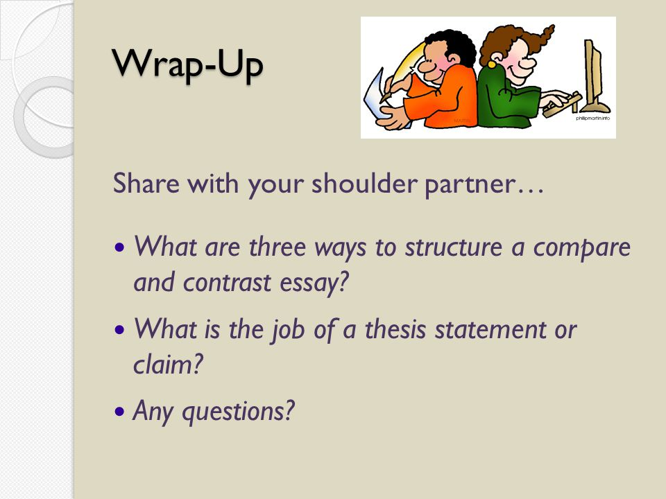 Wrap-Up Share with your shoulder partner… What are three ways to structure a compare and contrast essay.