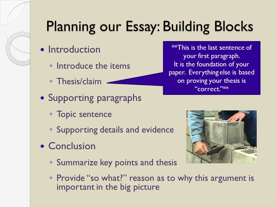 Planning our Essay: Building Blocks Introduction ◦ Introduce the items ◦ Thesis/claim Supporting paragraphs ◦ Topic sentence ◦ Supporting details and evidence Conclusion ◦ Summarize key points and thesis ◦ Provide so what reason as to why this argument is important in the big picture **This is the last sentence of your first paragraph.