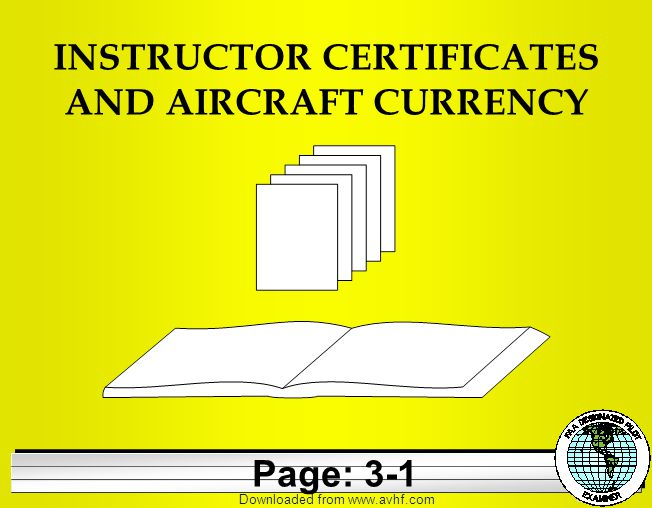 Downloaded from   INSTRUCTOR CERTIFICATES AND AIRCRAFT CURRENCY Page: 3-1