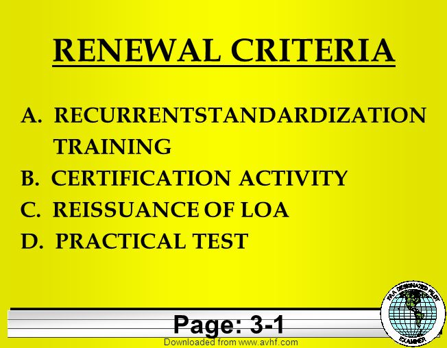 Downloaded from   RENEWAL CRITERIA A. RECURRENTSTANDARDIZATION TRAINING B.