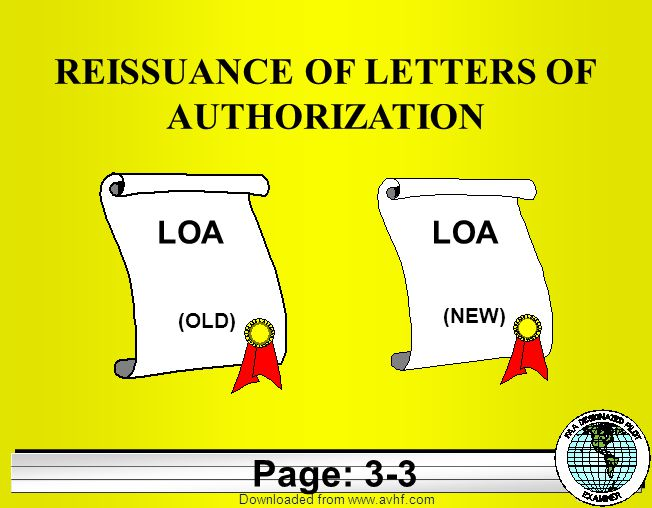 Downloaded from   REISSUANCE OF LETTERS OF AUTHORIZATION LOA (OLD) (NEW) Page: 3-3