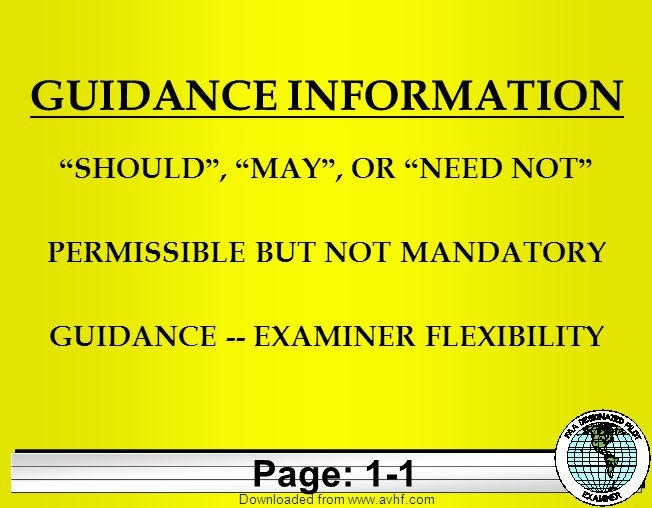 Downloaded from   GUIDANCE INFORMATION SHOULD , MAY , OR NEED NOT PERMISSIBLE BUT NOT MANDATORY GUIDANCE -- EXAMINER FLEXIBILITY Page: 1-1