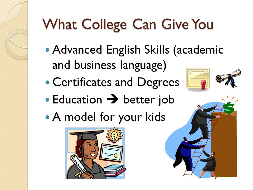 What College Can Give You Advanced English Skills (academic and business language) Certificates and Degrees Education  better job A model for your kids