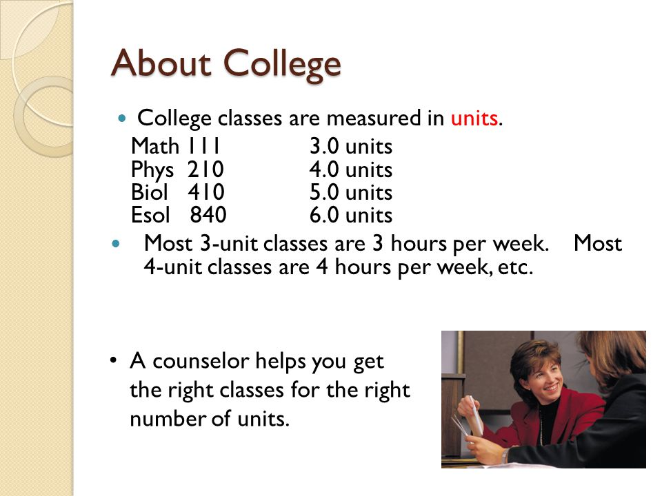 About College College classes are measured in units.