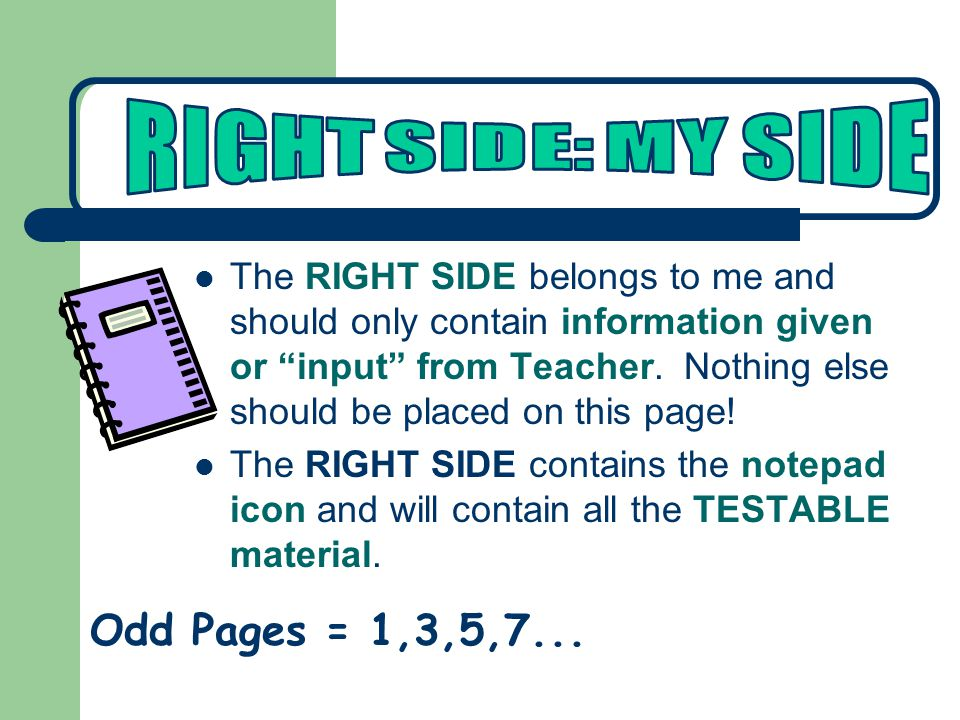 The RIGHT SIDE belongs to me and should only contain information given or input from Teacher.