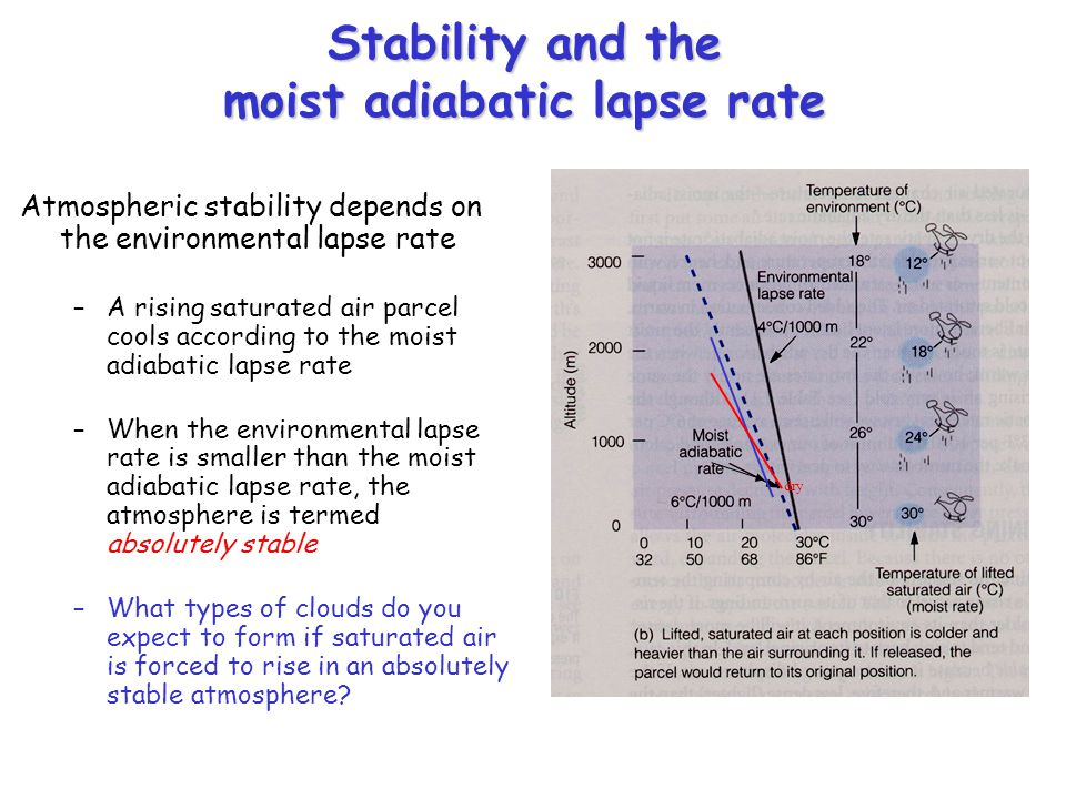 Stability and the moist adiabatic lapse rate Atmospheric stability depends on the environmental lapse rate –A rising saturated air parcel cools according to the moist adiabatic lapse rate –When the environmental lapse rate is smaller than the moist adiabatic lapse rate, the atmosphere is termed absolutely stable –What types of clouds do you expect to form if saturated air is forced to rise in an absolutely stable atmosphere.