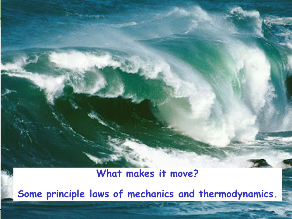 What makes it move Some principle laws of mechanics and thermodynamics.