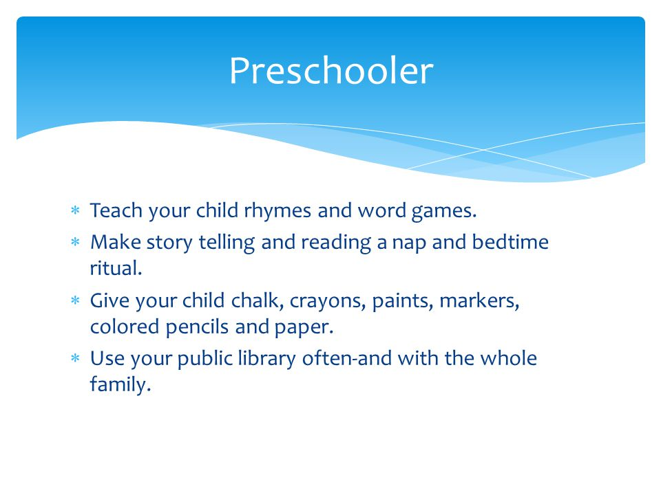  Teach your child rhymes and word games.