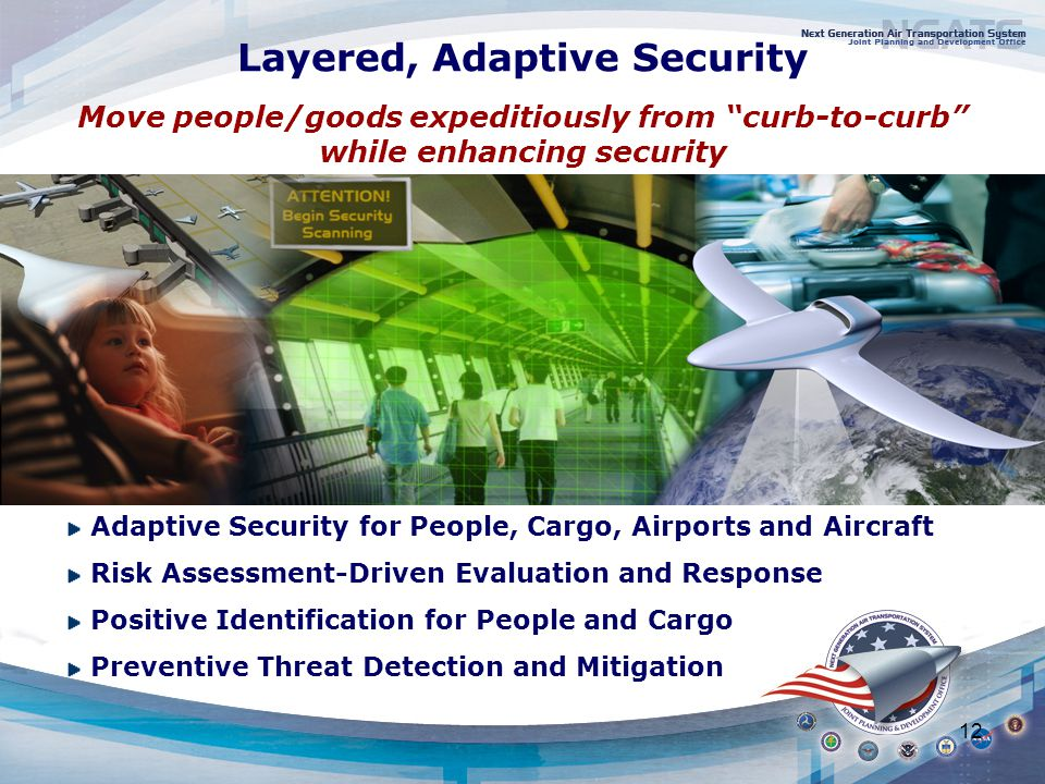 12 Move people/goods expeditiously from curb-to-curb while enhancing security Layered, Adaptive Security Adaptive Security for People, Cargo, Airports and Aircraft Risk Assessment-Driven Evaluation and Response Positive Identification for People and Cargo Preventive Threat Detection and Mitigation