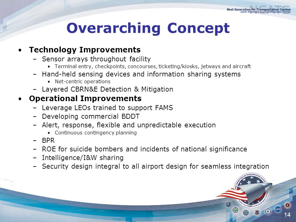 14 Overarching Concept Technology Improvements –Sensor arrays throughout facility Terminal entry, checkpoints, concourses, ticketing/kiosks, jetways and aircraft –Hand-held sensing devices and information sharing systems Net-centric operations –Layered CBRN&E Detection & Mitigation Operational Improvements –Leverage LEOs trained to support FAMS –Developing commercial BDDT –Alert, response, flexible and unpredictable execution Continuous contingency planning –BPR –ROE for suicide bombers and incidents of national significance –Intelligence/I&W sharing –Security design integral to all airport design for seamless integration