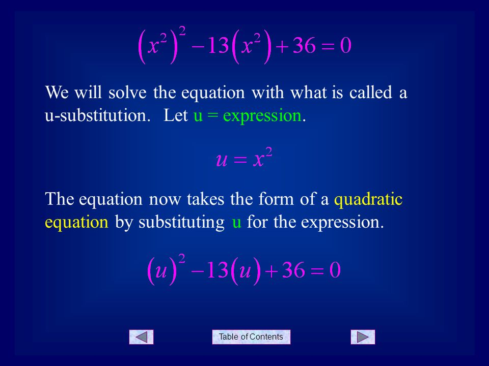 Table of Contents We will solve the equation with what is called a u-substitution.
