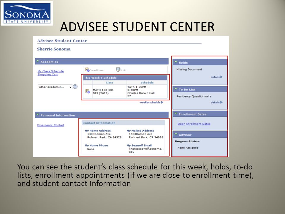 ADVISEE STUDENT CENTER You can see the student's class schedule for this week, holds, to-do lists, enrollment appointments (if we are close to enrollment time), and student contact information