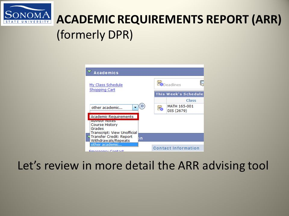 ACADEMIC REQUIREMENTS REPORT (ARR) (formerly DPR) Let's review in more detail the ARR advising tool
