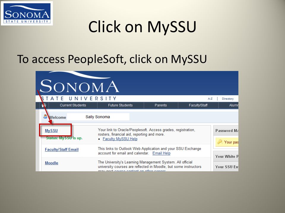 Click on MySSU To access PeopleSoft, click on MySSU