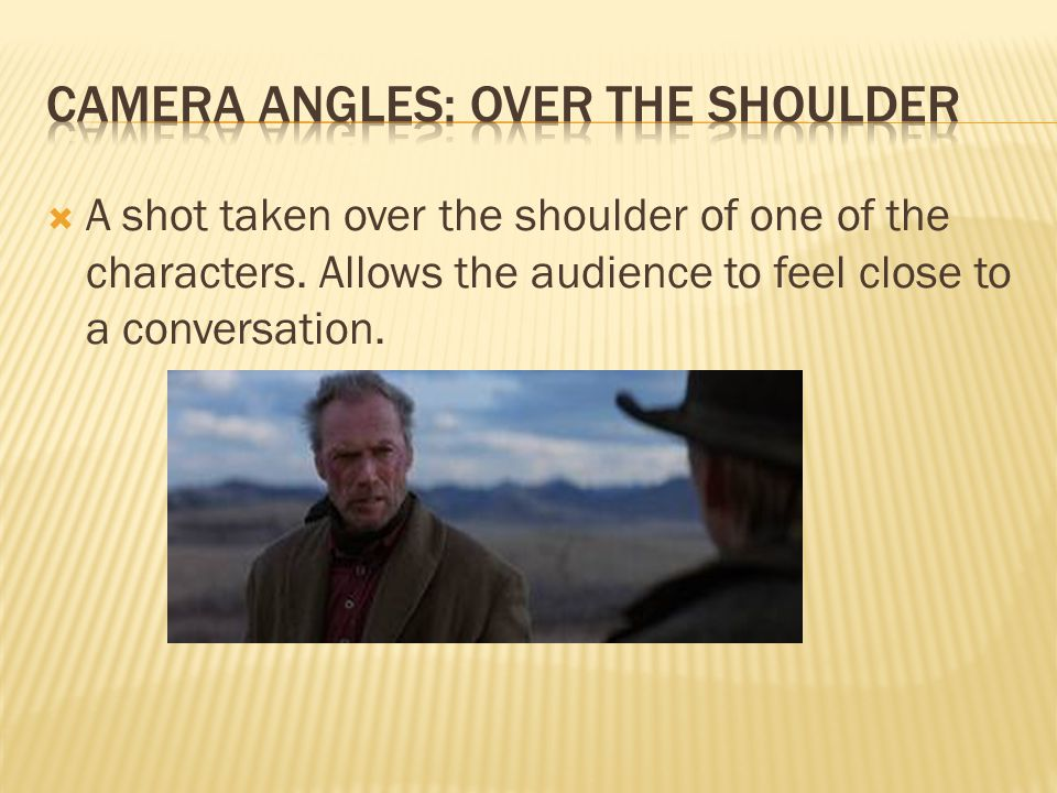  A shot taken over the shoulder of one of the characters.