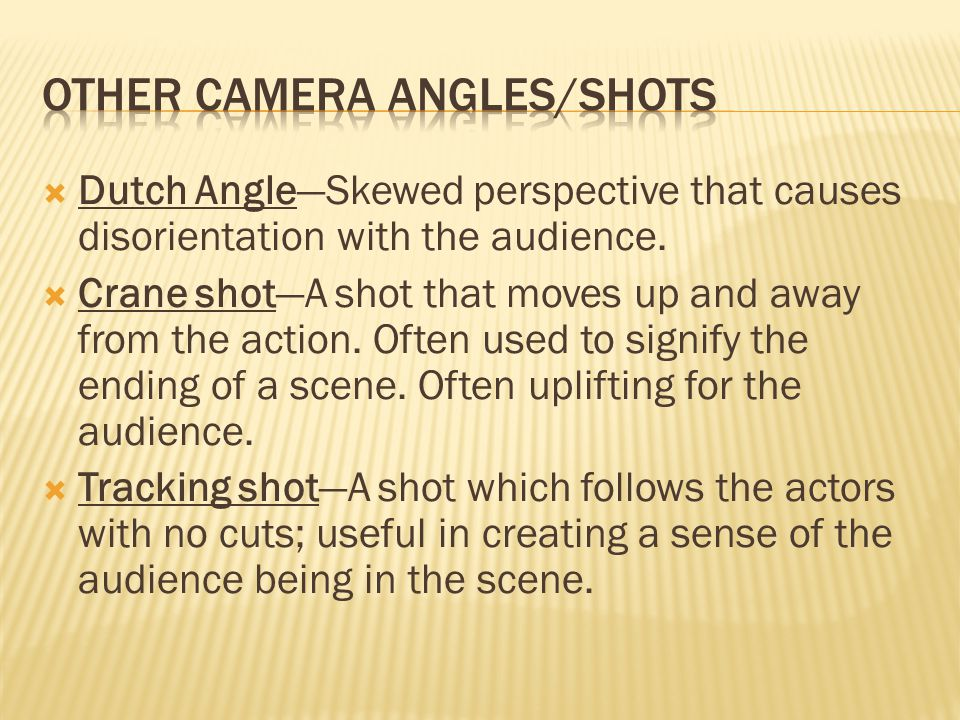  Dutch Angle—Skewed perspective that causes disorientation with the audience.