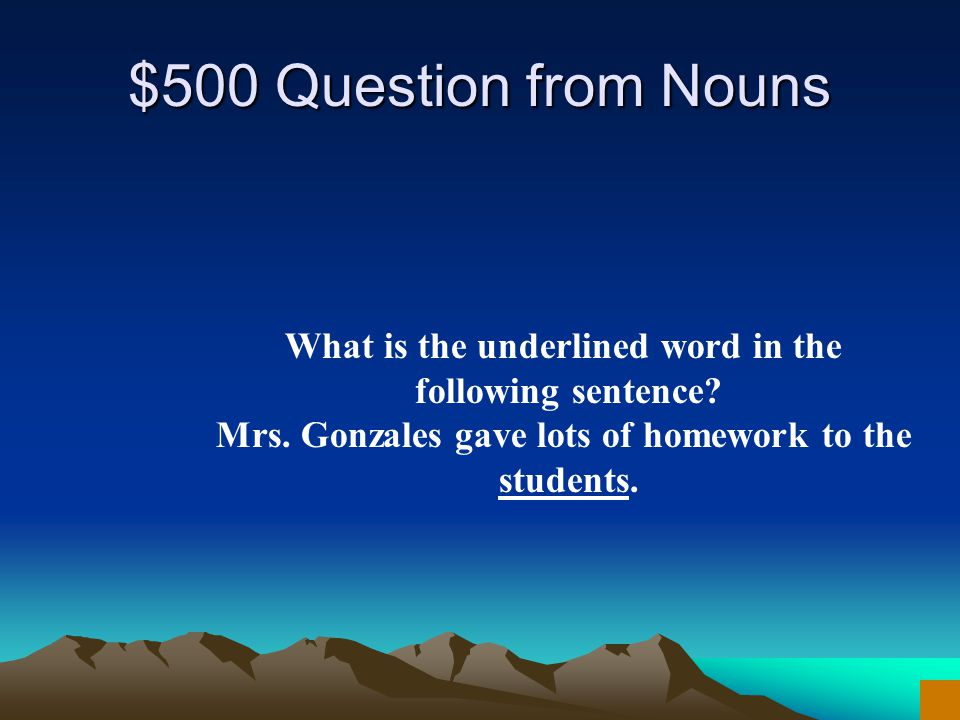 $400 Answer from Nouns What are proofs