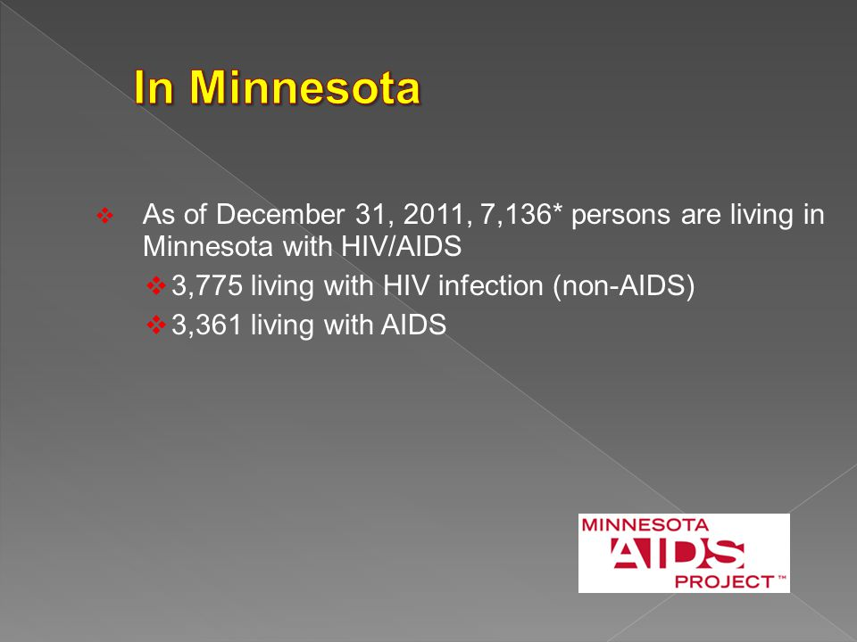  As of December 31, 2011, 7,136* persons are living in Minnesota with HIV/AIDS  3,775 living with HIV infection (non-AIDS)  3,361 living with AIDS