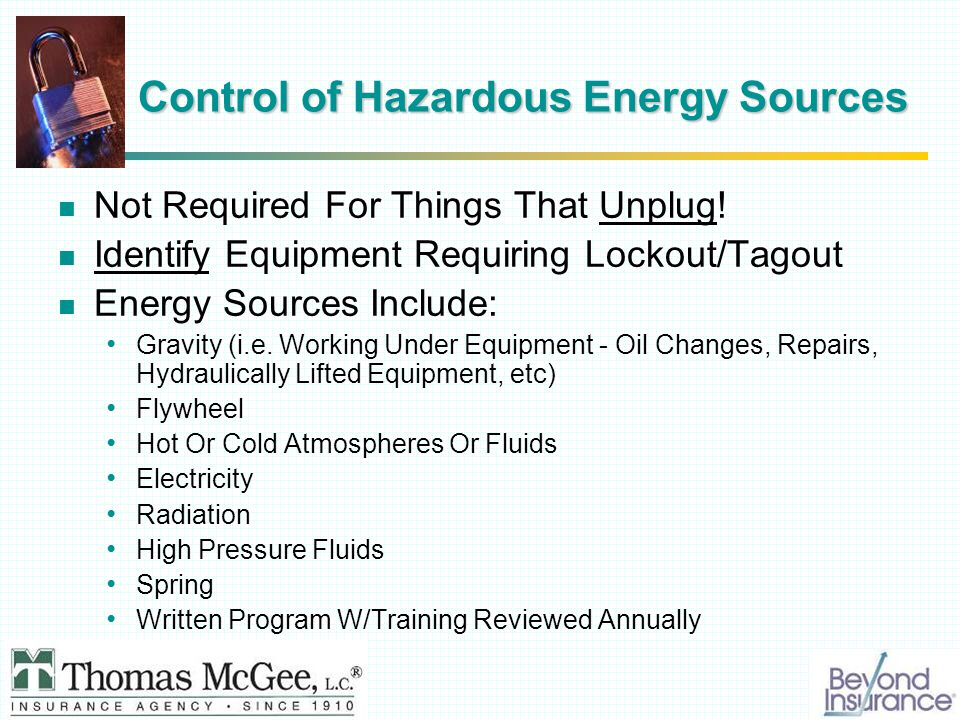 Control of Hazardous Energy Sources Not Required For Things That Unplug.
