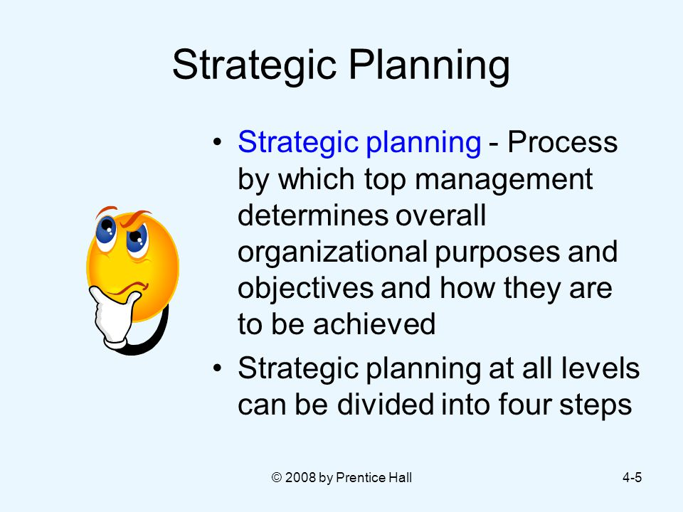 © 2008 by Prentice Hall4-5 Strategic Planning Strategic planning - Process by which top management determines overall organizational purposes and objectives and how they are to be achieved Strategic planning at all levels can be divided into four steps