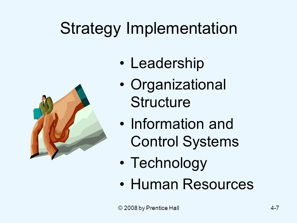 © 2008 by Prentice Hall4-7 Strategy Implementation Leadership Organizational Structure Information and Control Systems Technology Human Resources