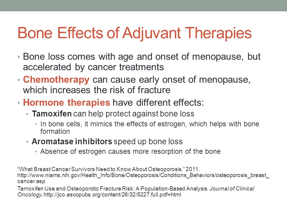 Bone Effects of Adjuvant Therapies Bone loss comes with age and onset of menopause, but accelerated by cancer treatments Chemotherapy can cause early onset of menopause, which increases the risk of fracture Hormone therapies have different effects: Tamoxifen can help protect against bone loss In bone cells, it mimics the effects of estrogen, which helps with bone formation Aromatase inhibitors speed up bone loss Absence of estrogen causes more resorption of the bone What Breast Cancer Survivors Need to Know About Osteoporosis