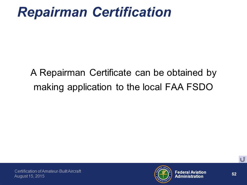 Presented To By Date Federal Aviation Administration