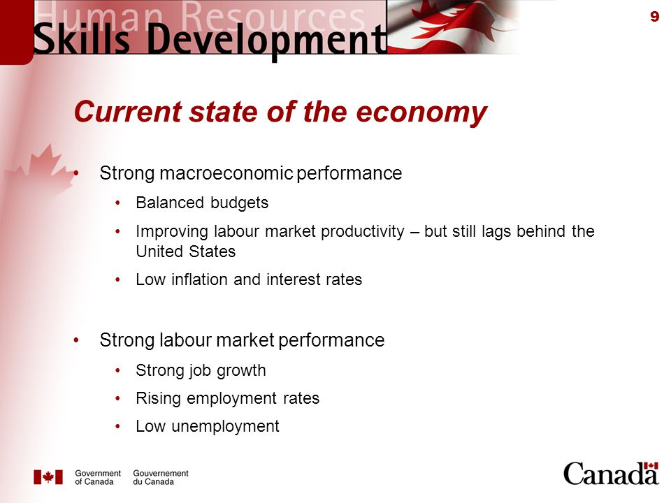 9 Current state of the economy Strong macroeconomic performance Balanced budgets Improving labour market productivity – but still lags behind the United States Low inflation and interest rates Strong labour market performance Strong job growth Rising employment rates Low unemployment
