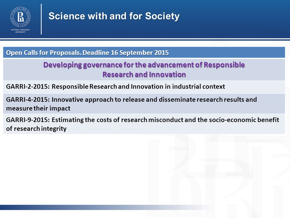 Science with and for Society Open Calls for Proposals.