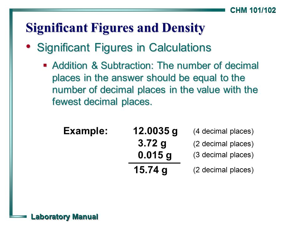 chm 101 102 laboratory manual significant figures and density rh slideplayer com General Chemistry 1 Lab Manual General Chemistry Lab Manual