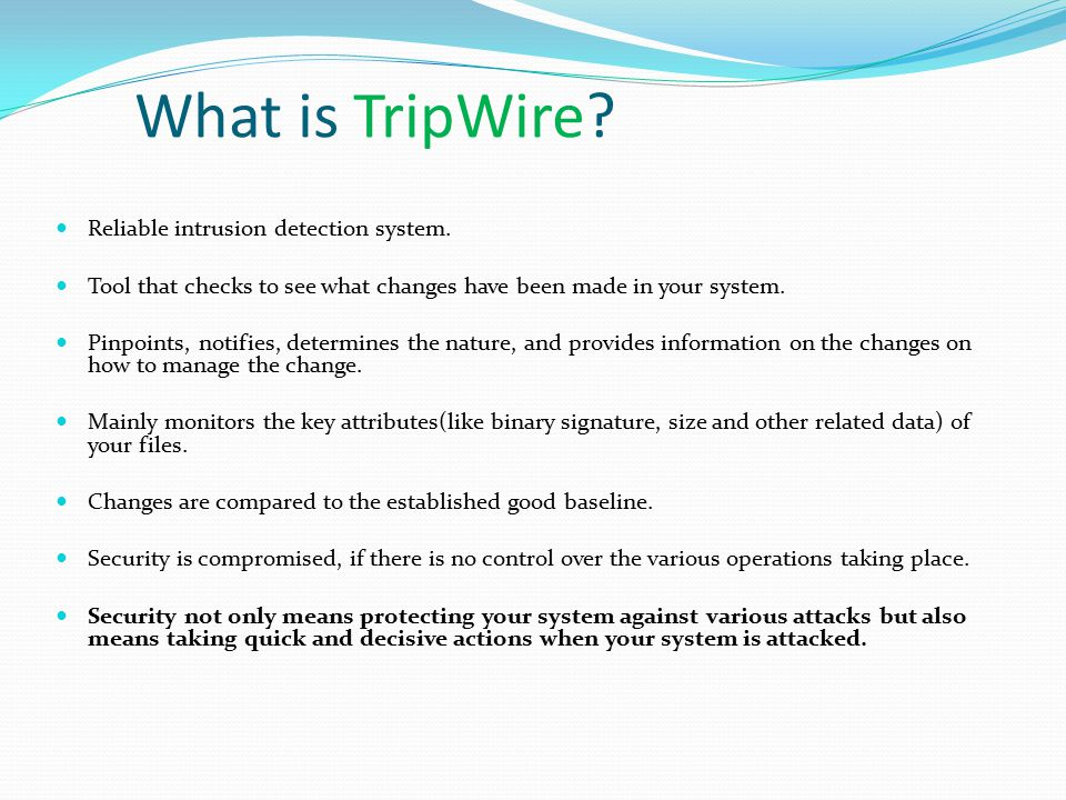 What is TripWire. Reliable intrusion detection system.