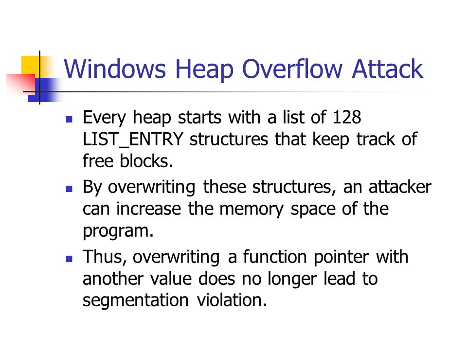 Windows Heap Overflow Attack Every heap starts with a list of 128 LIST_ENTRY structures that keep track of free blocks.