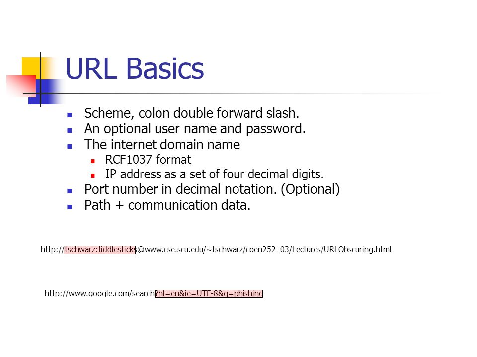 URL Basics Scheme, colon double forward slash. An optional user name and password.