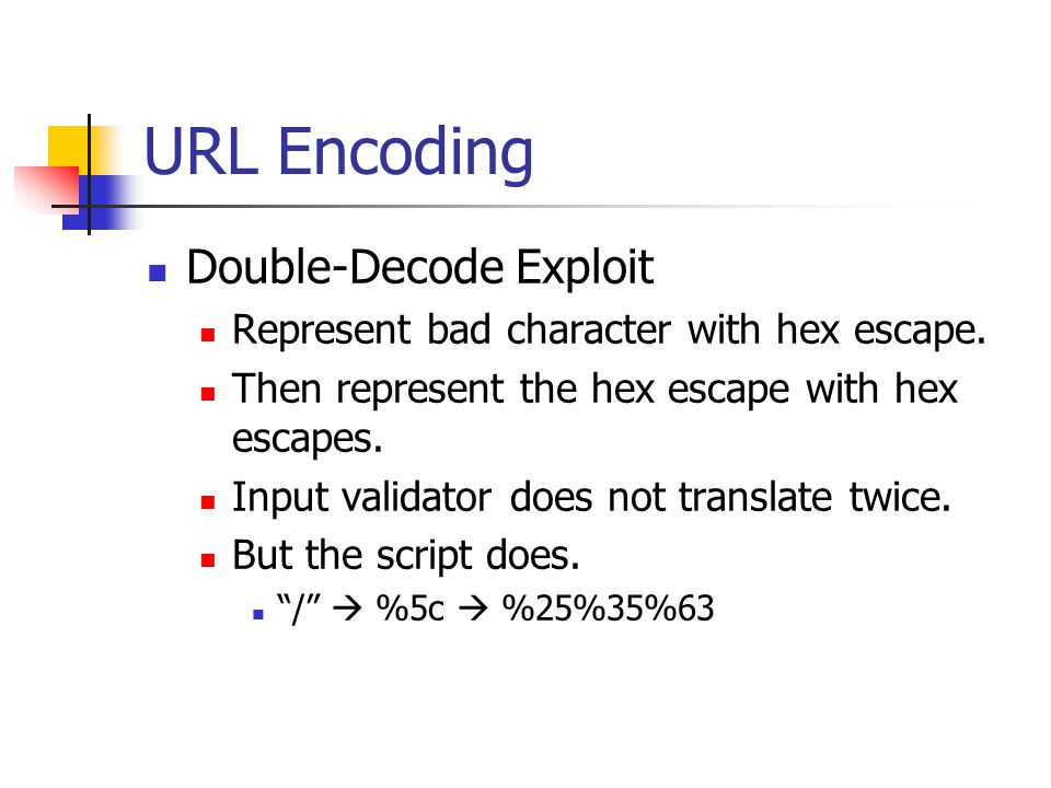URL Encoding Double-Decode Exploit Represent bad character with hex escape.