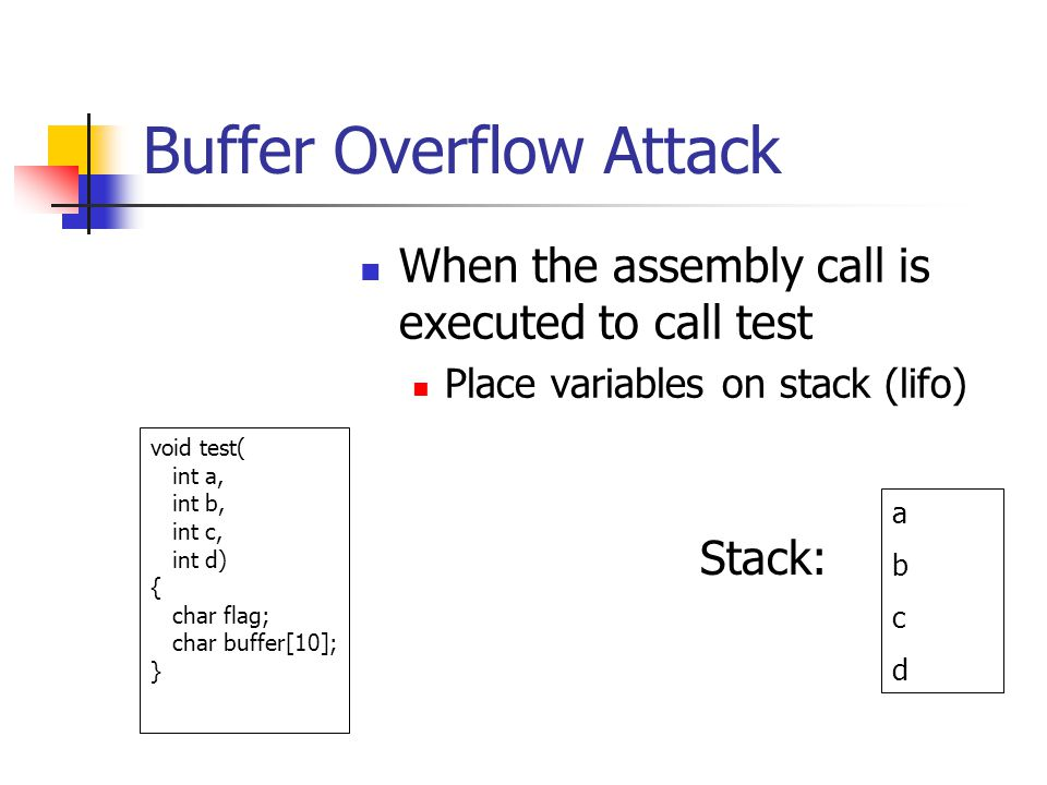 Buffer Overflow Attack When the assembly call is executed to call test Place variables on stack (lifo) abcdabcd void test( int a, int b, int c, int d) { char flag; char buffer[10]; } Stack: