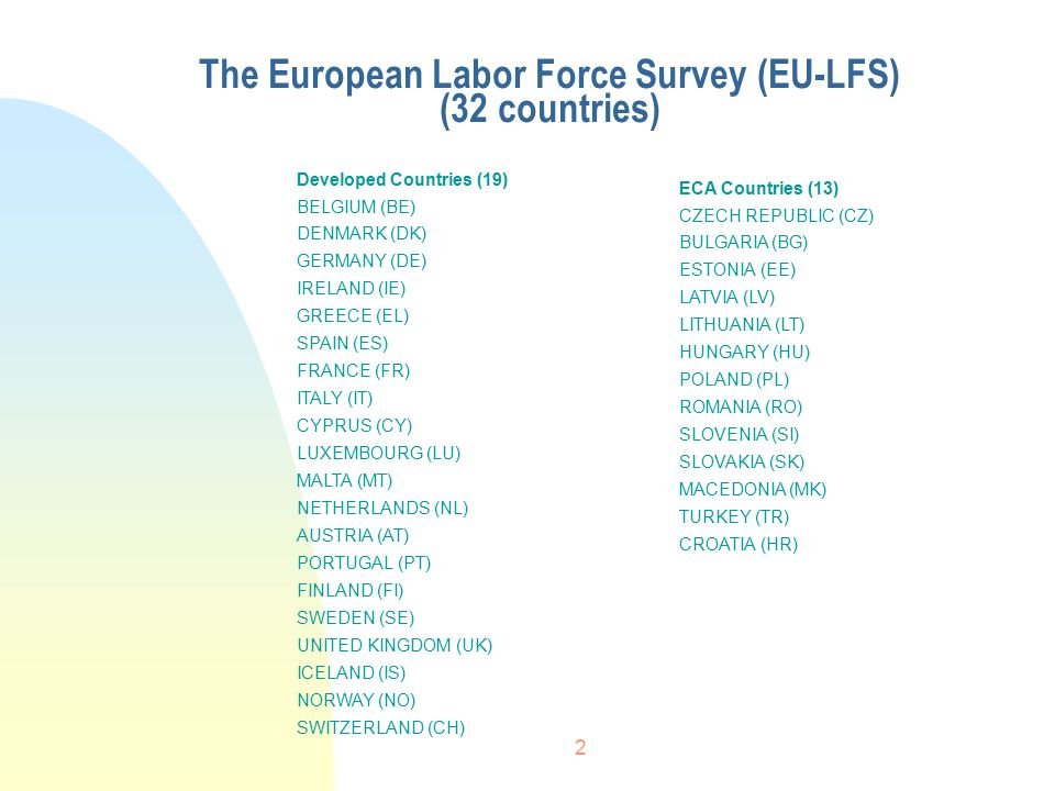 2 The European Labor Force Survey (EU-LFS) (32 countries) Developed Countries (19) BELGIUM (BE) DENMARK (DK) GERMANY (DE) IRELAND (IE) GREECE (EL) SPAIN (ES) FRANCE (FR) ITALY (IT) CYPRUS (CY) LUXEMBOURG (LU) MALTA (MT) NETHERLANDS (NL) AUSTRIA (AT) PORTUGAL (PT) FINLAND (FI) SWEDEN (SE) UNITED KINGDOM (UK) ICELAND (IS) NORWAY (NO) SWITZERLAND (CH) ECA Countries (13) CZECH REPUBLIC (CZ) BULGARIA (BG) ESTONIA (EE) LATVIA (LV) LITHUANIA (LT) HUNGARY (HU) POLAND (PL) ROMANIA (RO) SLOVENIA (SI) SLOVAKIA (SK) MACEDONIA (MK) TURKEY (TR) CROATIA (HR)