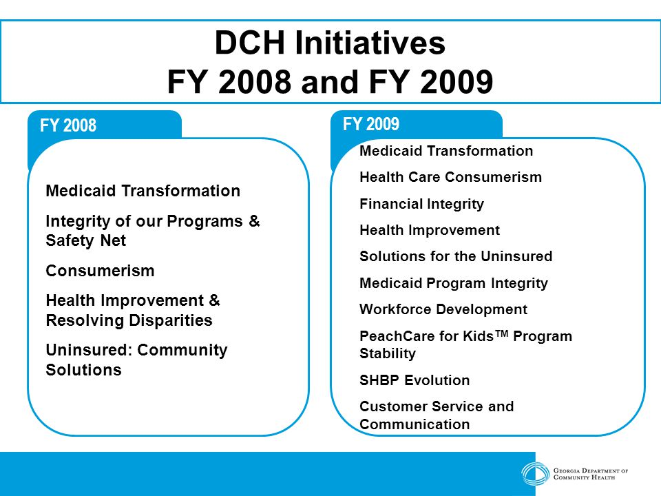 FY 2008 Medicaid Transformation Integrity of our Programs & Safety Net Consumerism Health Improvement & Resolving Disparities Uninsured: Community Solutions FY 2009 DCH Initiatives FY 2008 and FY 2009 Medicaid Transformation Health Care Consumerism Financial Integrity Health Improvement Solutions for the Uninsured Medicaid Program Integrity Workforce Development PeachCare for Kids TM Program Stability SHBP Evolution Customer Service and Communication