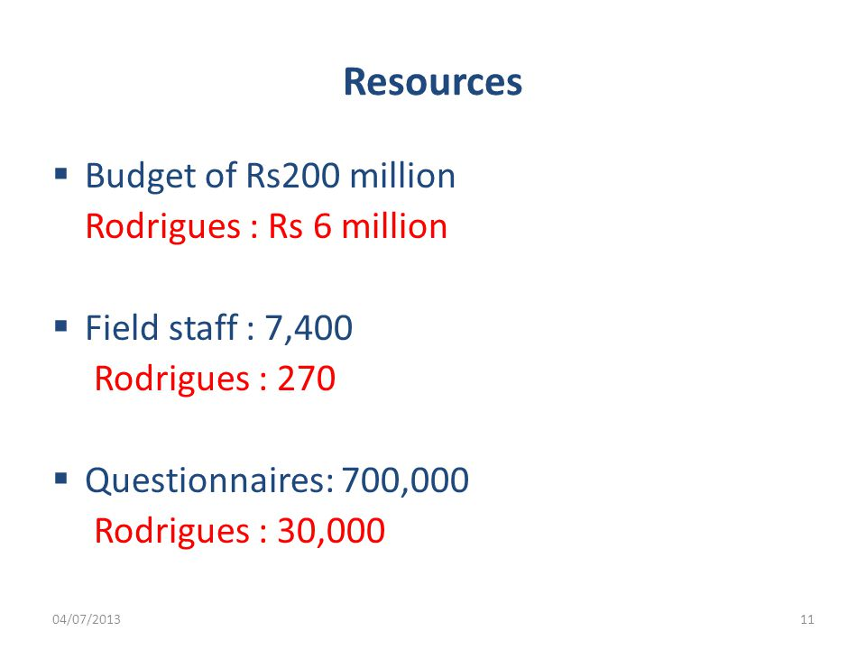 Resources  Budget of Rs200 million Rodrigues : Rs 6 million  Field staff : 7,400 Rodrigues : 270  Questionnaires: 700,000 Rodrigues : 30,000 04/07/201311