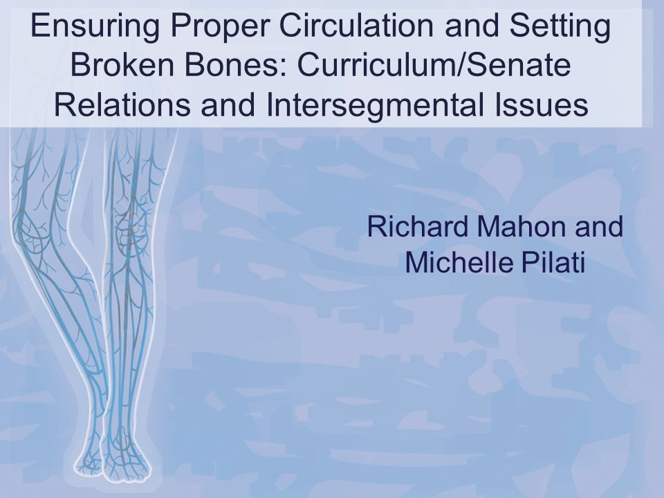 Ensuring Proper Circulation and Setting Broken Bones: Curriculum/Senate Relations and Intersegmental Issues Richard Mahon and Michelle Pilati