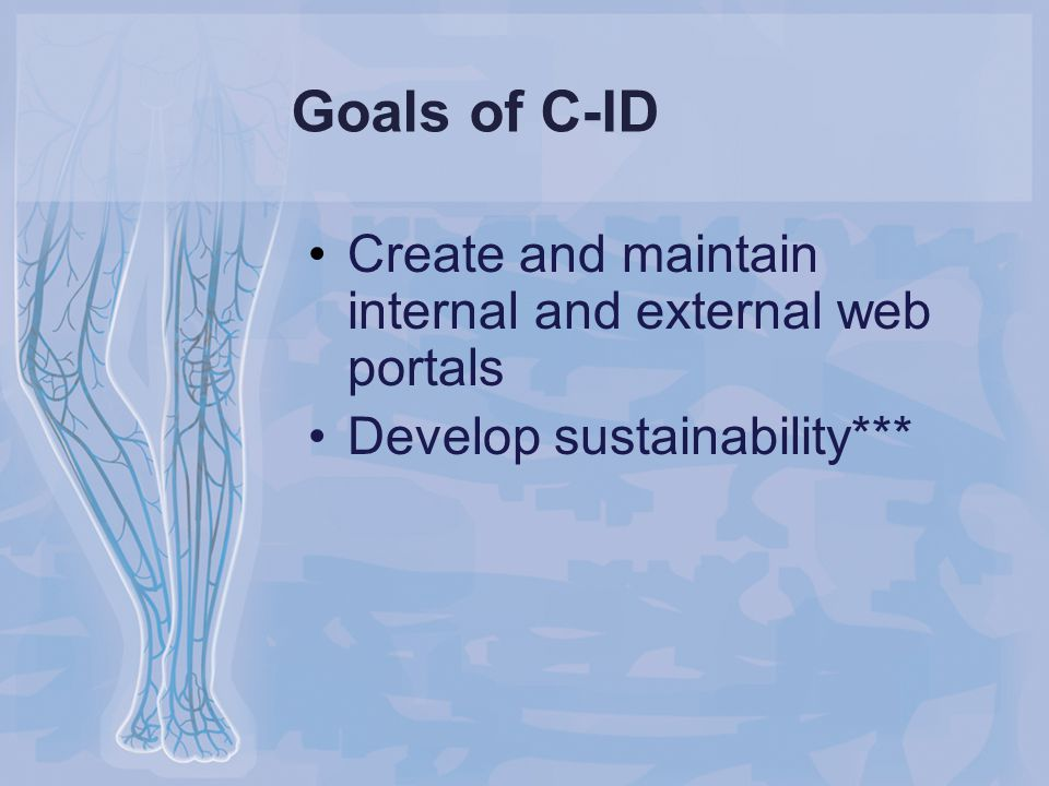 Goals of C-ID Create and maintain internal and external web portals Develop sustainability***