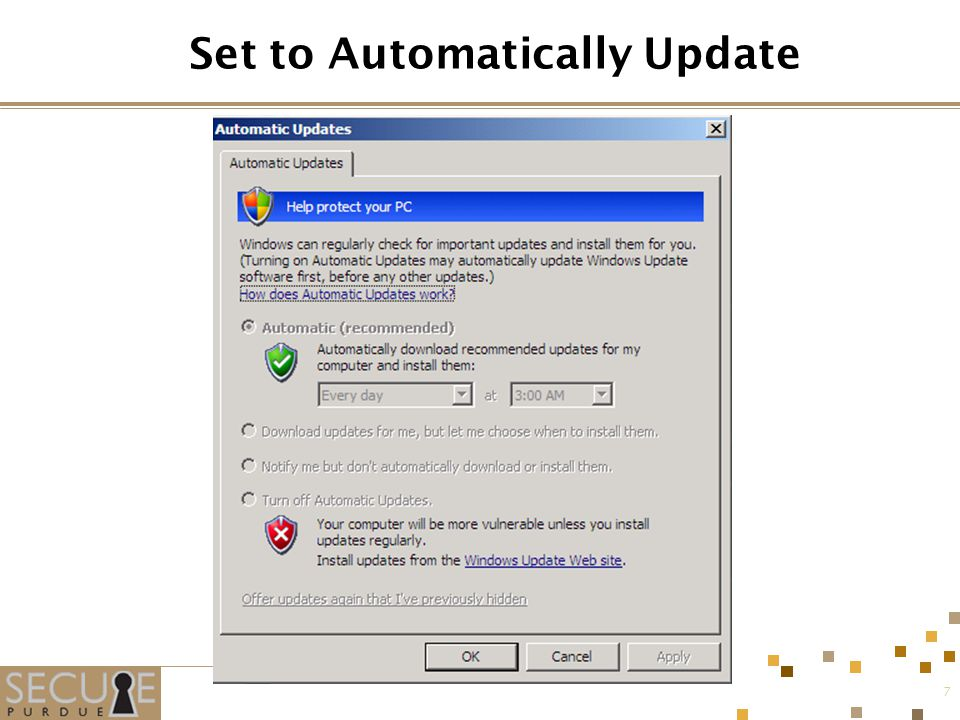 7 Set to Automatically Update